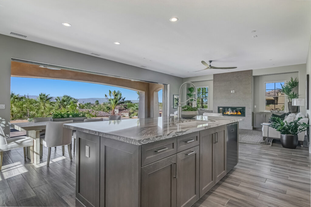 Photo of kitchen looking out